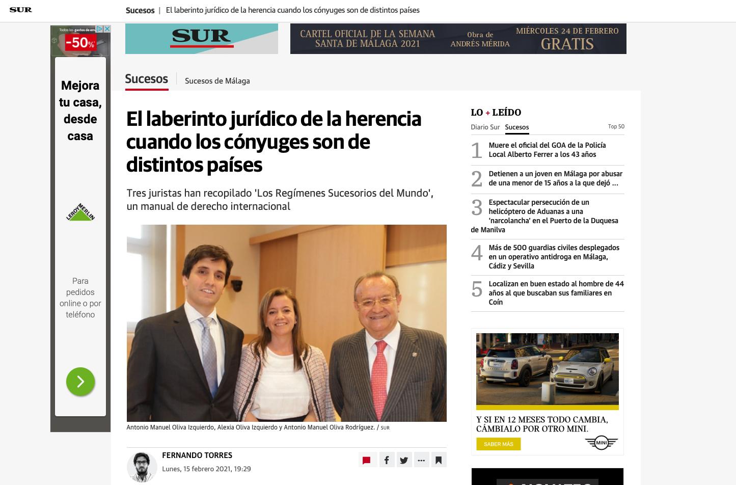 Tres juristas han recopilado 'Los Regímenes Sucesorios del Mundo', un manual de derecho internacional