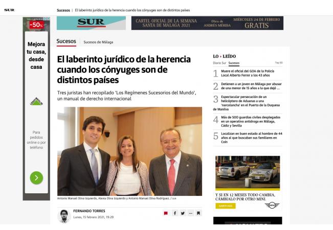 [PRENSA] DIARIO SUR: El laberinto jurídico de la herencia cuando los cónyuges son de distintos países