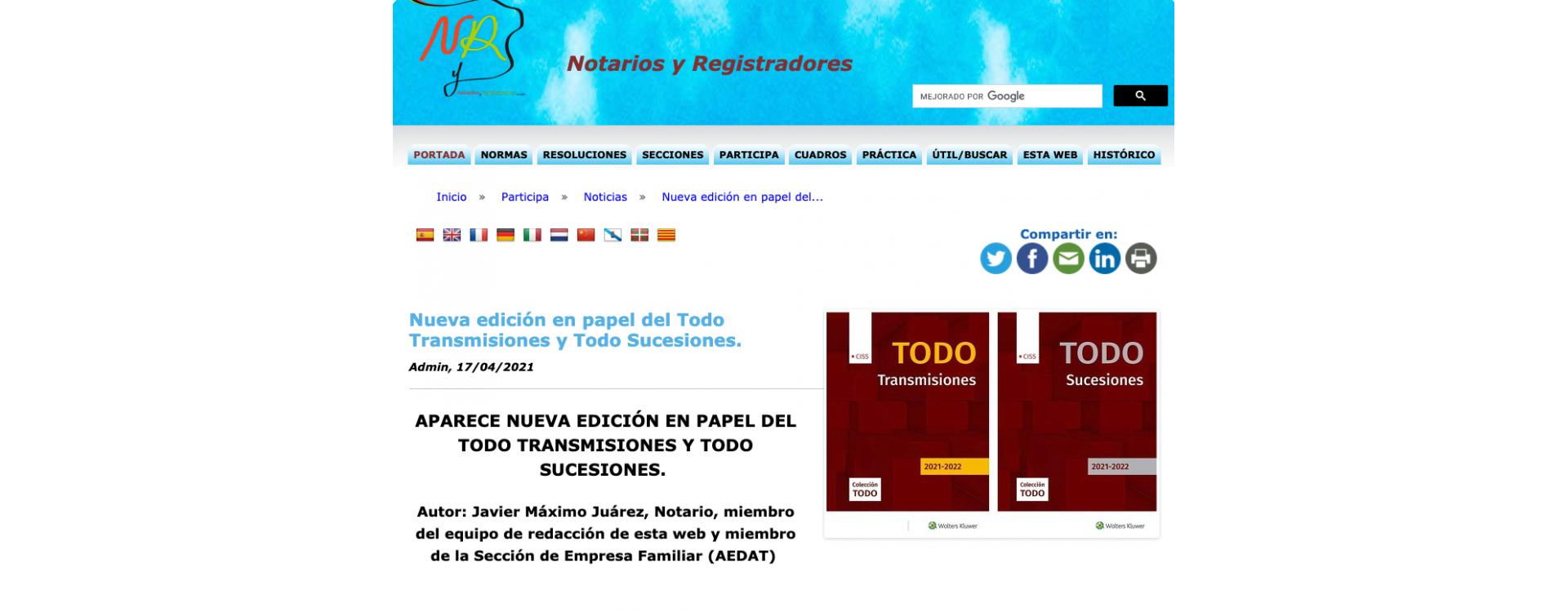 [PRENSA] NOTARIOS Y REGISTRADORES: Nueva edición en papel del Todo Transmisiones y Todo Sucesiones
